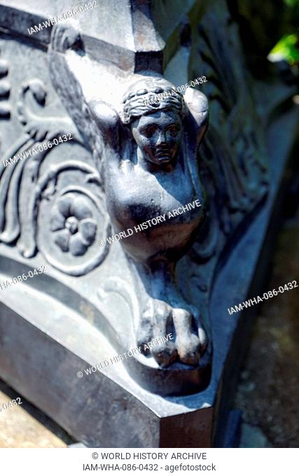 Detail of an urn within the gardens of Waddesdon Manor, a country house in the village of Waddesdon. Built in the Neo-Renaissance style of a French château for...