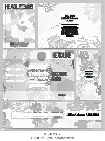 Set of business templates for presentation, brochure, flyer, banner or booklet. Hand drawn floral doodle pattern, abstract vector background