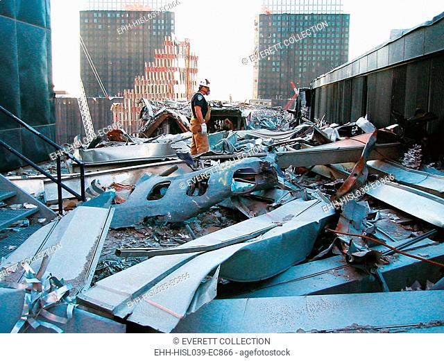 A portion of the fuselage of United Airlines Flight 175 on the roof of WTC 5, Oct. 25, 2001. This was from the plane that crashed into the South Tower, WTC 2