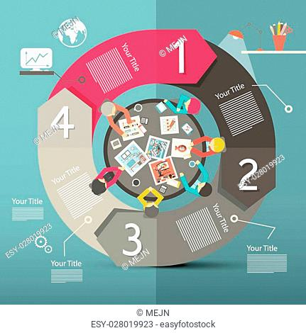 Infographics Vector Template - Layout with Top View on Business People Around Circle Table