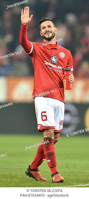 Mainz' Danny Latza thanks the fans after the Bundesliga soccer match between FSV Mainz 05 and Borussia Dortmund at the Opel Arena in Mainz, Germany