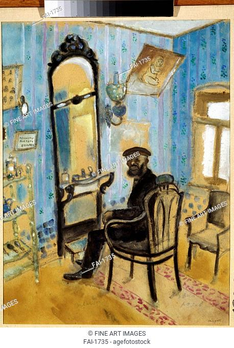 Hairdresser. Chagall, Marc (1887-1985). Gouache and oil on paper. Russian avant-garde. 1914. State Tretyakov Gallery, Moscow. 49x37. Painting