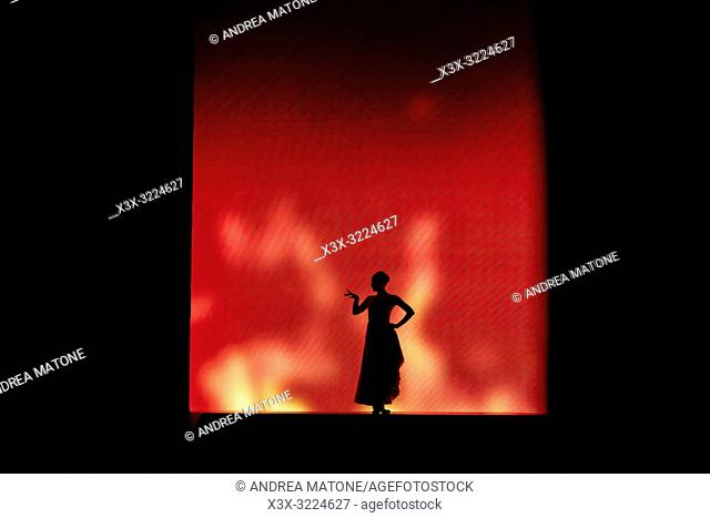 Woman silhouette figure against a red screen, Dublin, Ireland, Europe