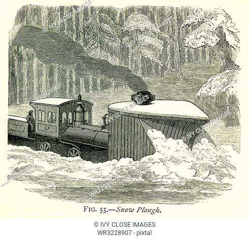 This illustration dates to the 1870s and shows a snow plough (plow) clearing snow on a train track in the Western United States