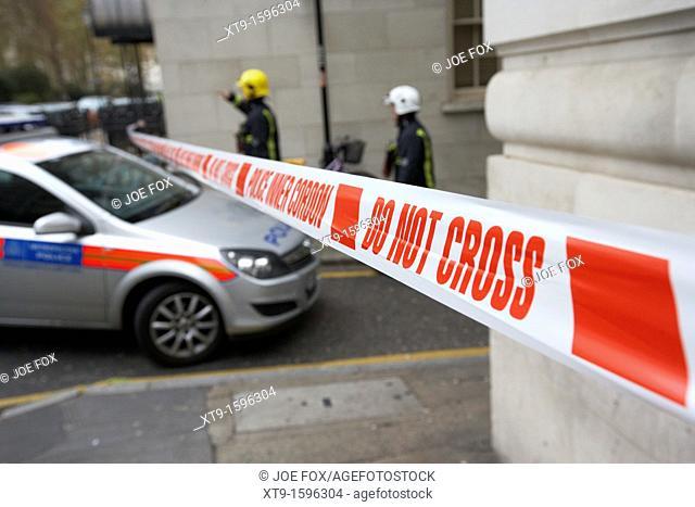 police inner cordon tape do not cross at incident in london england uk united kingdom