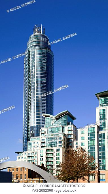 Modern Apartments Including Round St George's Wharf Tower at vauxhall Cross in London UK