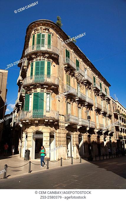 Scene from thetown center, Ortigia Island, Syracuse, Sicily, Italy, Europe