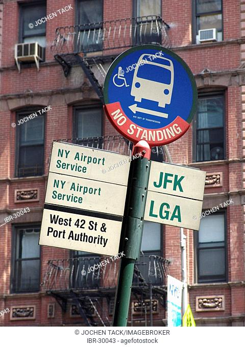 USA, United States of America, New York City: Bus stop for all airport shuttle buses at the Port Authority on 8th Avenue and 42nd Street