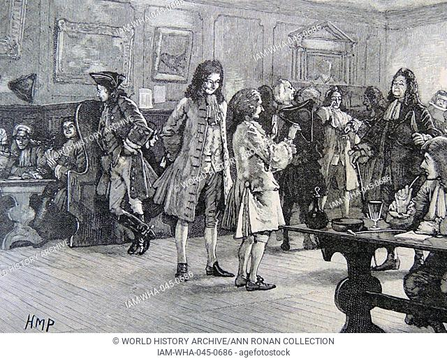 Coffee house in the reign of Queen Anne (1702-1714), London, Engalnd. Engraving c1880