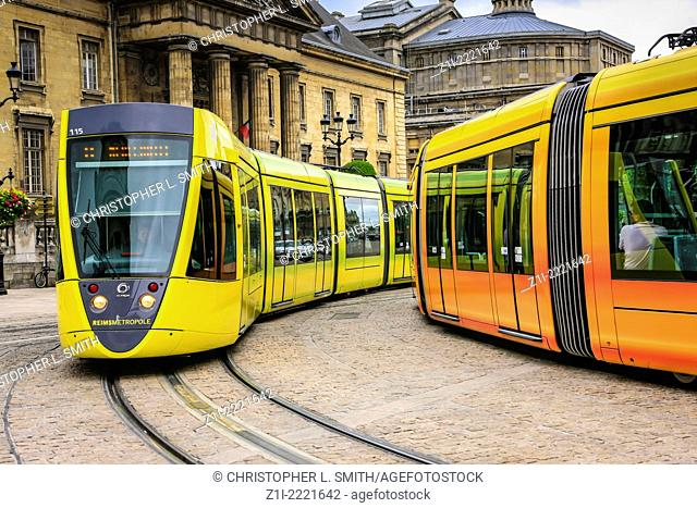 Trams on the corner of Jean Baptiste and Herrick in Reims France