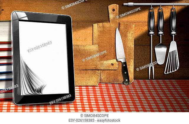 Tablet computer with blank pages and stack of books in a kitchen, on wooden wall with kitchen utensils. Template for recipes or food menu