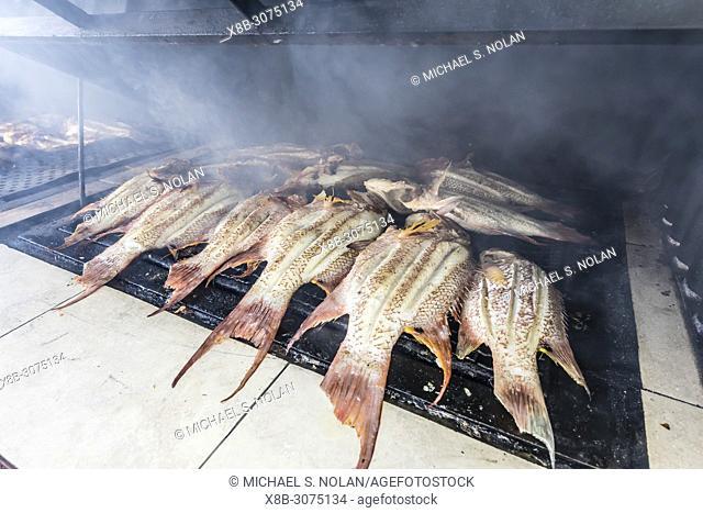 Fresh caught fish being prepared at a private restaurant in Nueva Gerona on Isla de la Juventud, Cuba
