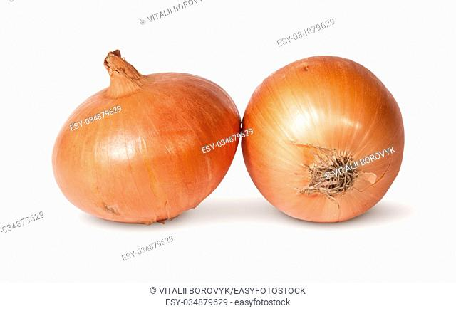 Two Fresh Golden Onions Isolated On White Background
