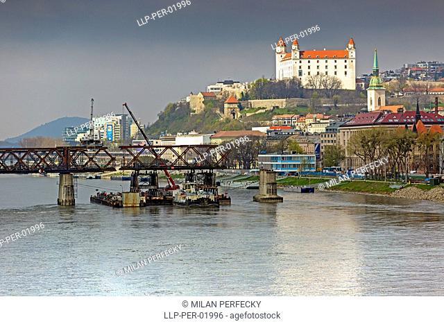 Removing the bridge - Bratislava, Slovakia