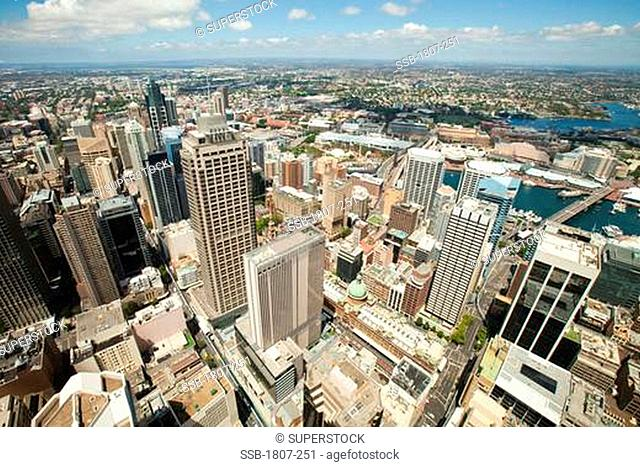 Aerial view of a cityscape, Sydney harbor, Sydney, New South Wales, Australia