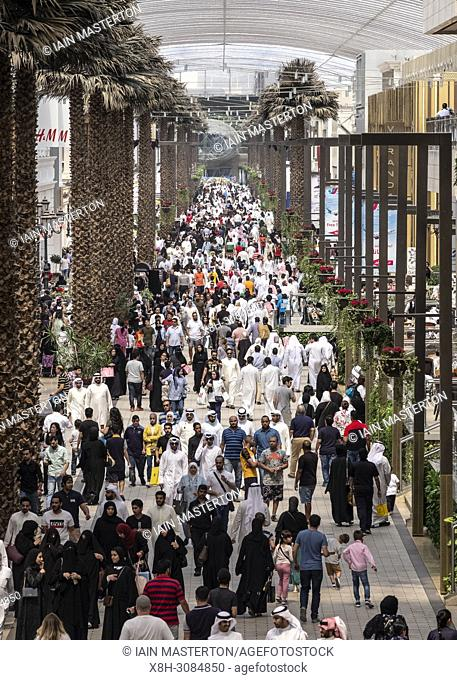 Crowds of shoppers on Grand Avenue in The Avenues shopping mall in Kuwait City, Kuwait