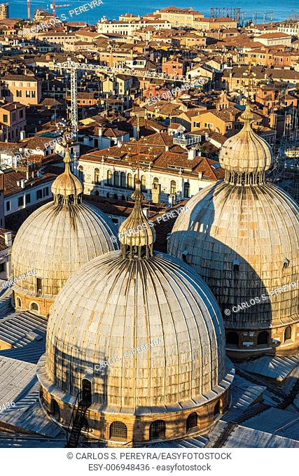 Aerial panoramics of the italian city of Venice with the domes of San Marco, Europe