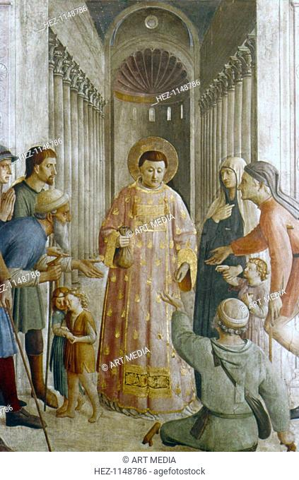 'St Laurence giving alms to the Poor', mid 15th century. St Laurence (d258), saint and martyr, was Deacon of the Christian church in Rome