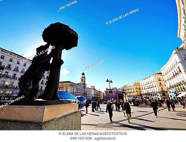 The Bear and the Strawberry Tree Statue at Puerta del Sol square. Madrid. Spain