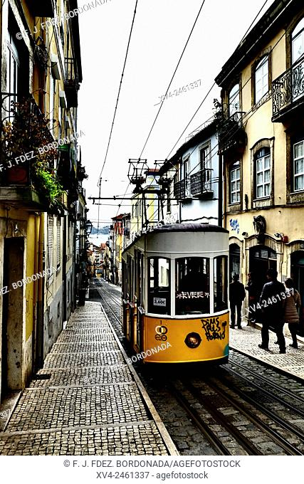 Bica cable car in Bairro Alto in the morning, Lisbon. Portugal