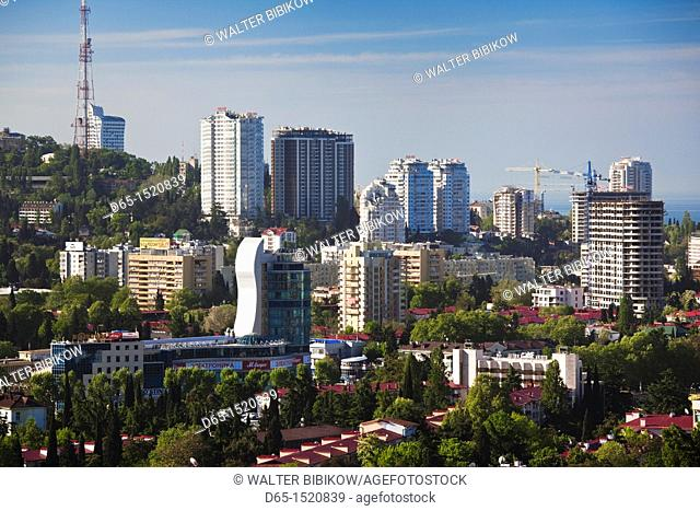 Russia, Black Sea Coast, Sochi, elevated city view from Vinogradnaya Street, morning
