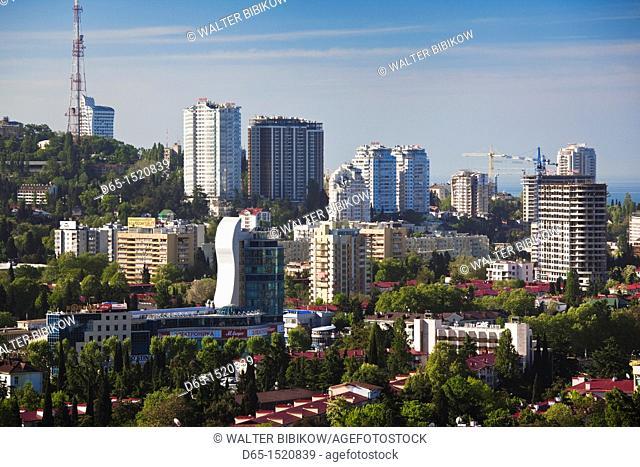 Russia, Black Sea Coast, Sochi, elevated city view from Vinogradnaya Street, morning