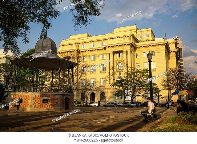 Centro Cultural Banco do Brazil and Edwardian bandstand, Praça da Liberdade, Freedom Square, Belo Horizonte, Minas Gerais, Brazil
