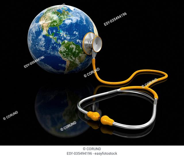 Stethoscope and globe. Image with clipping path