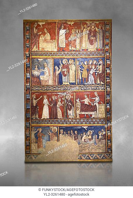 Gothic panel depicting scenes from the Life of St Nicholas. End of the 13th century, fresco transferred to canvas from a mural on the north wall of The Church...