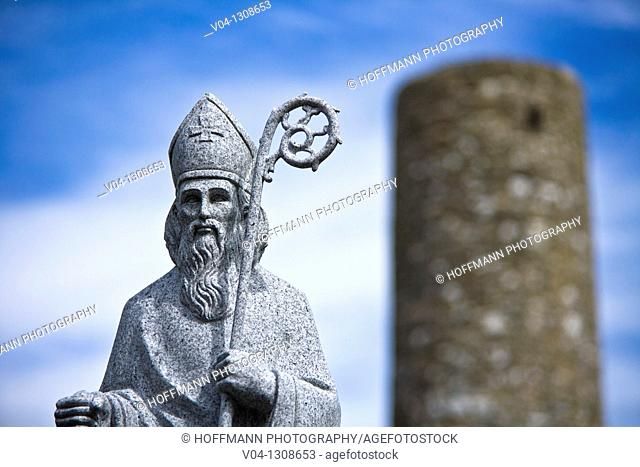 Statue of Saint Patrick and round tower, Aghagower, County Mayo, Ireland