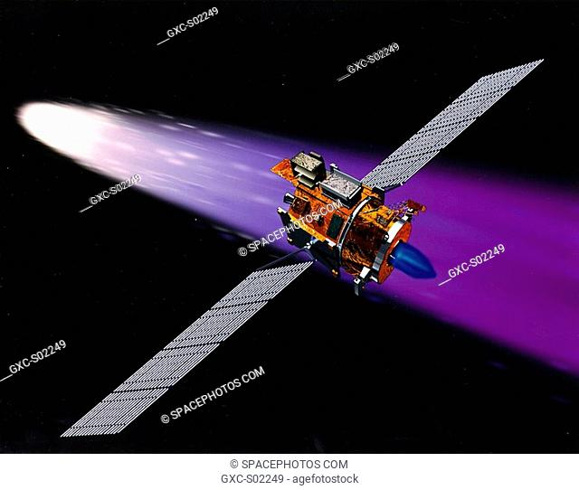 Deep Space 1 using its Ion Engine . NASA's New Millennium Deep Space 1 spacecraft approaching the comet Borelly. The large solar panels on this spacecraft...