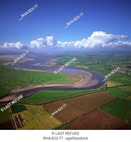 Aerial image of the River Esk flowing into Solway Firth, near Gretna Green, border between Cumbria in England and Dumfries and Galloway in Scotland