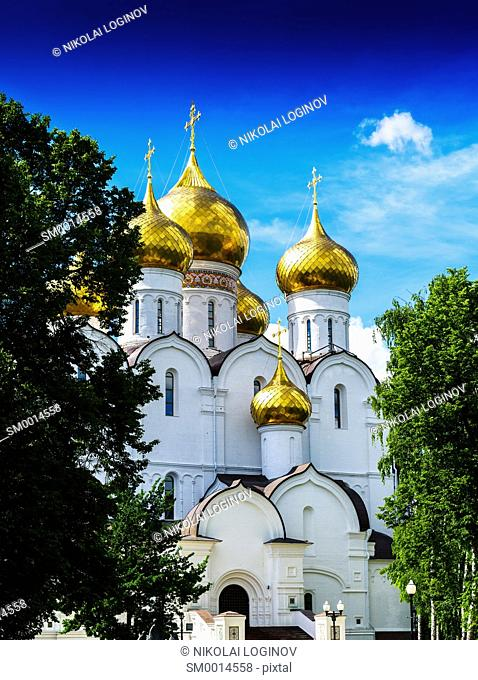 Vertical vibrant vivid Russian orthodox church temple