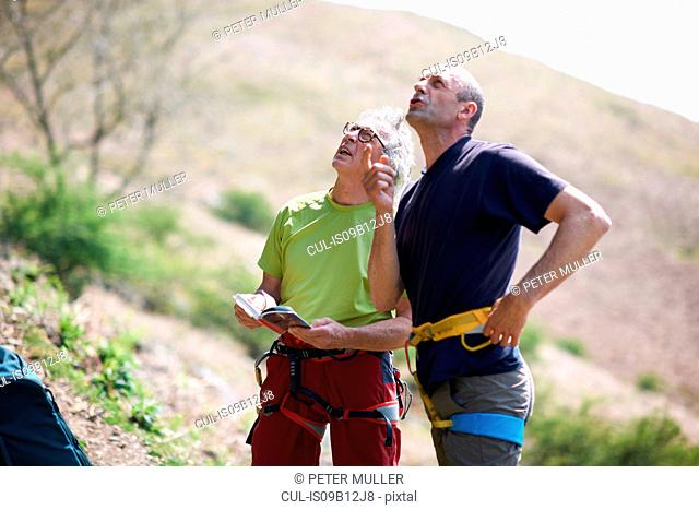 Rock climbers wearing safety harness looking up