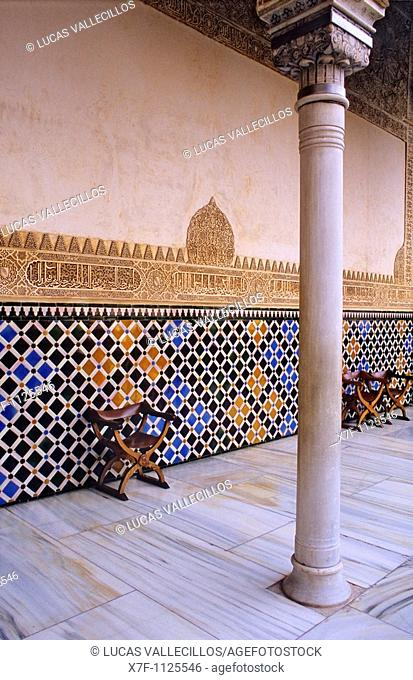 Detail of the north porch Courtyard of ArrayanesCourt of the Myrtles Comares palace  Nazaries palaces Alhambra, Granada  Andalusia, Spain