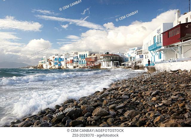 Little Venice district on a windy day, Mykonos, Cyclades Islands, Greek Islands, Greece, Europe