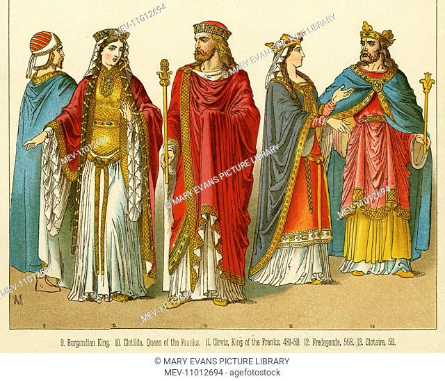 Clovis I, King of the Franks, (466 - 511), and his wife Clotilda, Queen of the Franks (475 - 545)