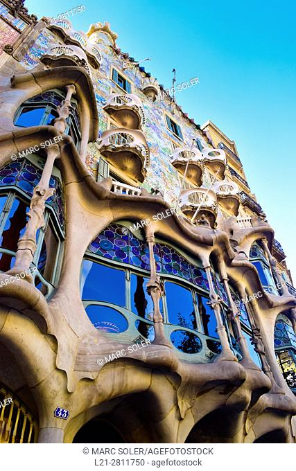 Casa Batllo by architect Antoni Gaudi. Barcelona, Catalonia, Spain
