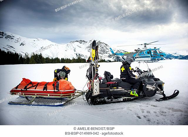 Reportage with a ski patrol team at the Avoriaz ski resort in Haute Savoie, France. The team are responsible for marking out the ski slopes