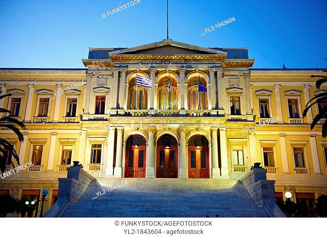 The Neo Classic City Hall of Ermoupolis, Miaoulis Square, Syros  S  , Greek Cyclades Islands
