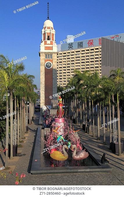 China, Hong Kong, Clock Tower, Chinese new year, decoration,