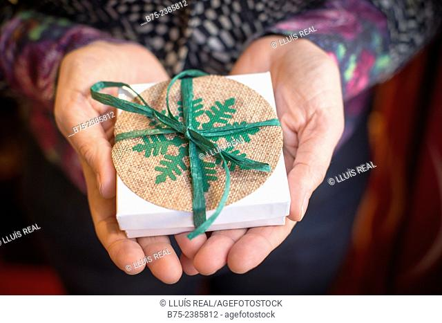 Christmas gift in the hands of a woman