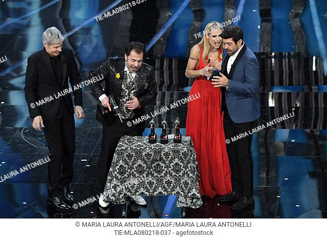 Claudio Baglioni, Mago Forest, Michelle Hunziker, Pierfrancesco Favino at the 68th Sanremo Music Festival, Sanremo, ITALY-07-02-2018