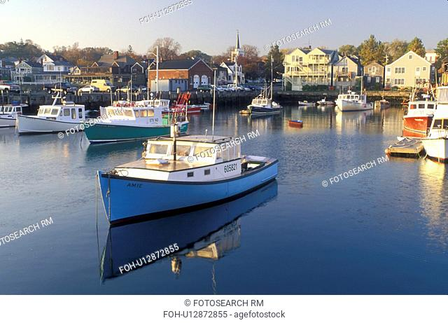 lobster boats, Rockport, Massachusetts, MA, Fishing boats docked in Rockport Harbor in scenic Rockport in the fall