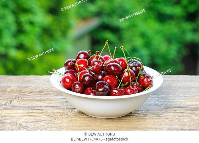 Fresh ripe cherries in white bowl on wooden table in summer garden