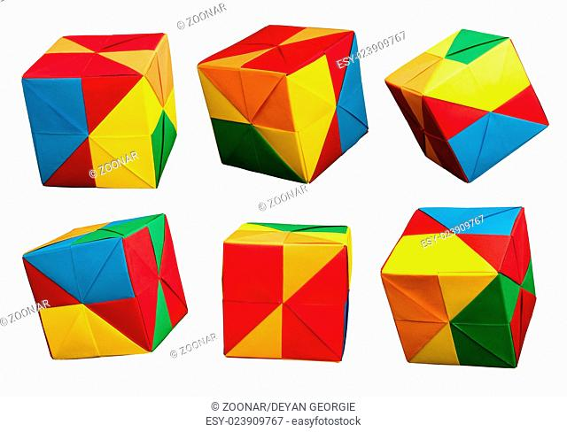Paper cubes folded origami style