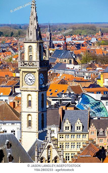 Belgium, Flanders, Ghent (Gent). High-angle view of Old Post Office clocktower and buildings in old town