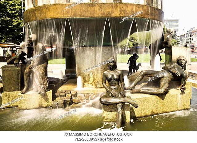 Germany, Berlin, Berlin . Particular of a fountain in Wittenberg Square