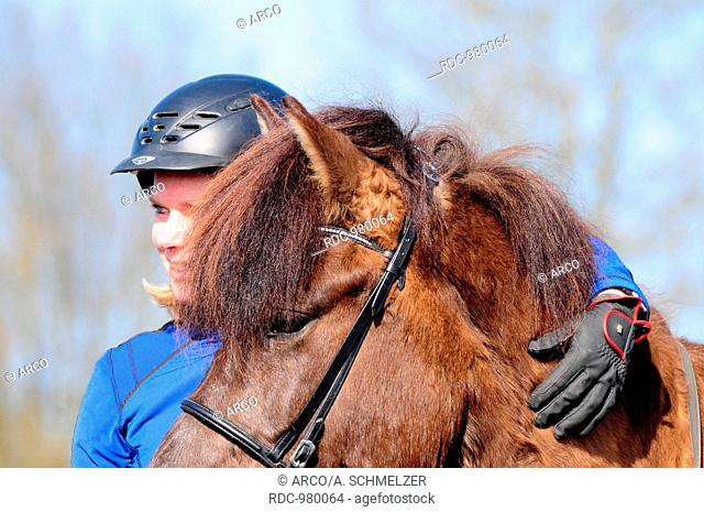 Woman with Icelandic Horse, mare