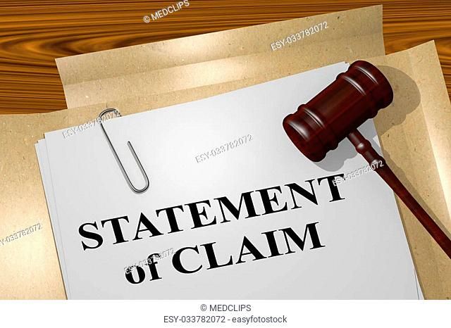 3D illustration of 'STATEMENT of CLAIM' title on legal document